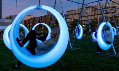 Glowing swings in Boston!